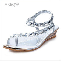 AREQWHot Sale New Summer Fashion Woman Sandals Bohemia Flat Sandals Diamond 2017 Roman Ladies Shoes