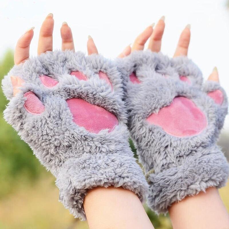 Fashion Gant Femme Hiver Winter Warm Plush Women Half Finger Mitts Cute Cat Wrist Gloves Mittens Claw Paw Women Glove
