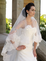 Fashion Cheap Wedding Accessory Short Lace Applique One Layer Bridal Veil Y 020