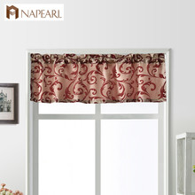 NAPEARL 1 Piece Leaves Jacquard Thread Short Valance Drops W
