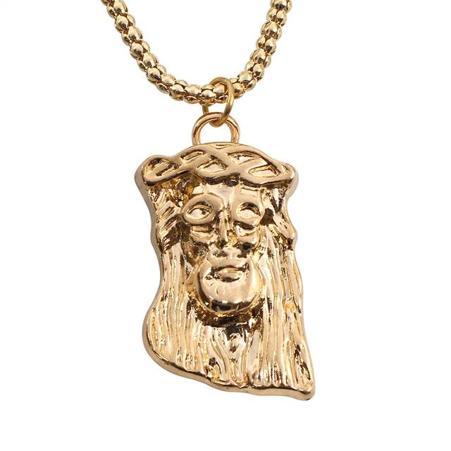 Top design european stylish gold color alloy christ jesus head top design european stylish gold color alloy christ jesus head pendant necklaces prayer blessing gift unisex aloadofball Images