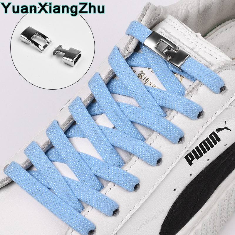 1Pair New Elastic Cross buckle ShoeLaces 1 Second Quick No Tie Shoe laces Kids Adult Unisex Sneakers Shoelace Lazy Laces Strings title=