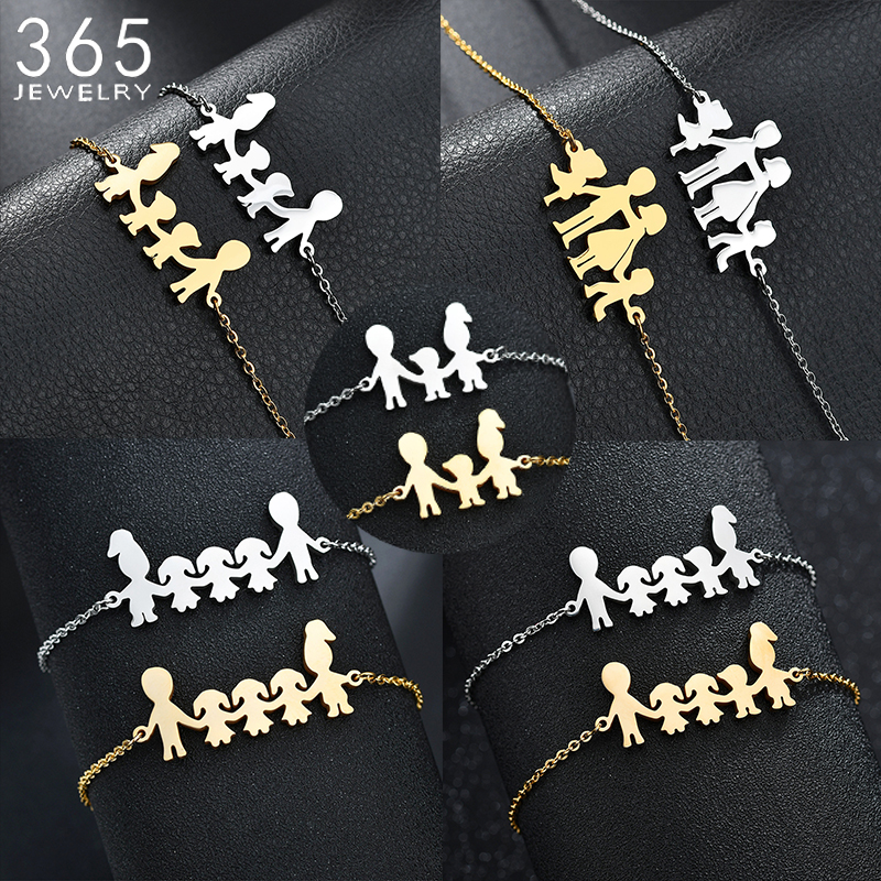 Cute Stainless Steel Mom Dad Kids Family Bracelets Women Gold Adjustable Figure Bracelets Girls Jewelry