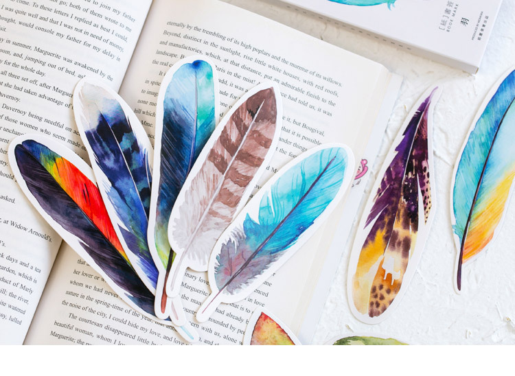 30 Pcs Pack Cartoon Book Marks Lovely Colored Feather Bookmarks