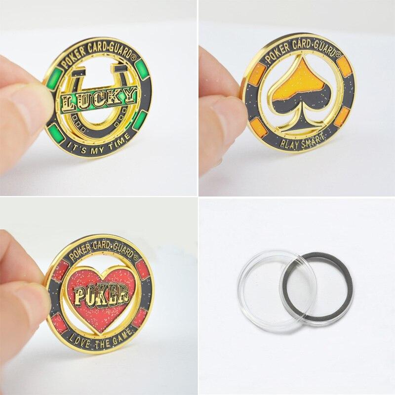 1 Set (3 pcs) Unik Koin Logam Souvenier, Poker Chips Kartu Penjaga Pelindung Saatnya / Bermain Cerdas / Cinta Permainan Melubangi gaya