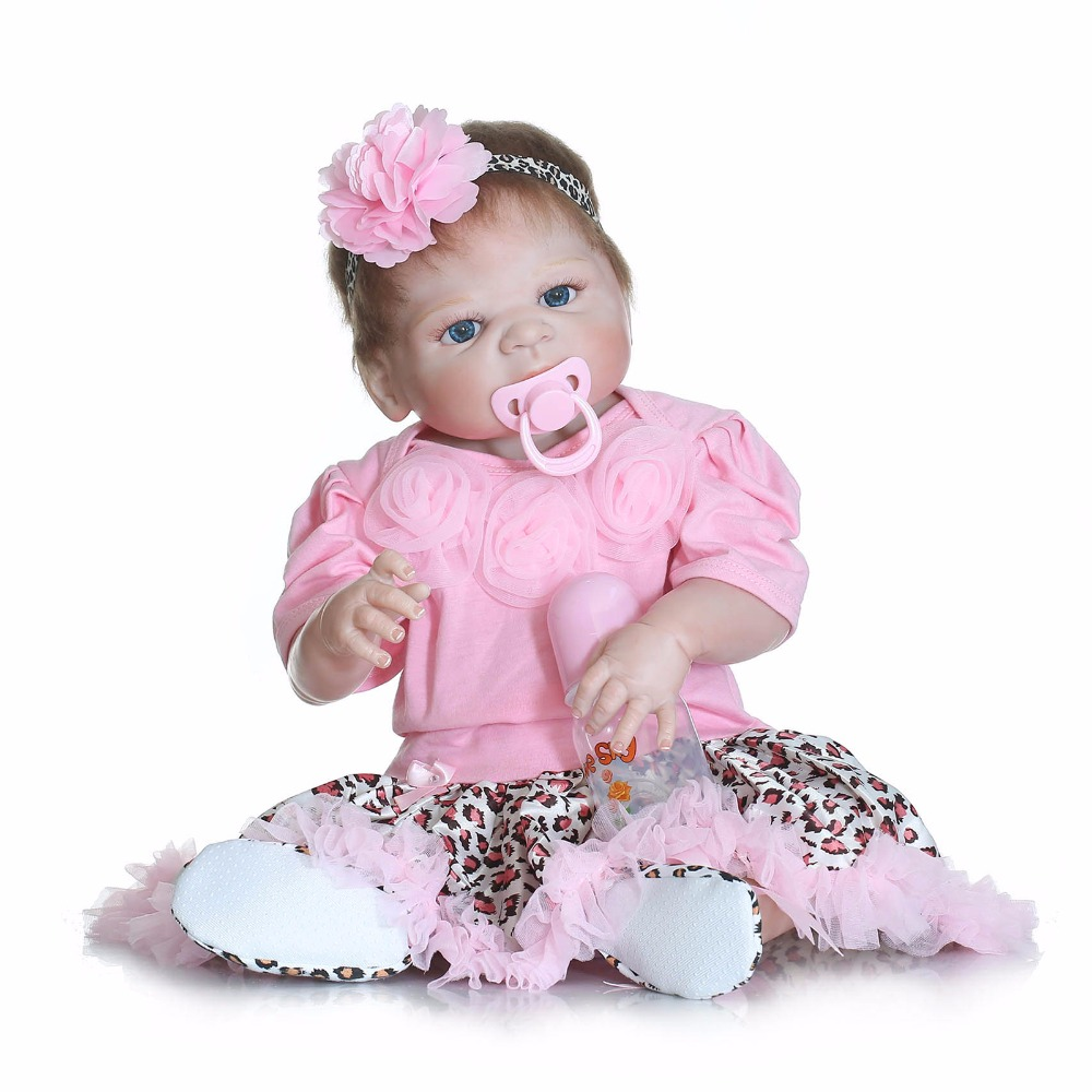 Full body silicone reborn dolls for girls toys gift 57cm realistic newborn baby Anatomically Correct bebe doll reborn bonecas full silicone reborn dolls