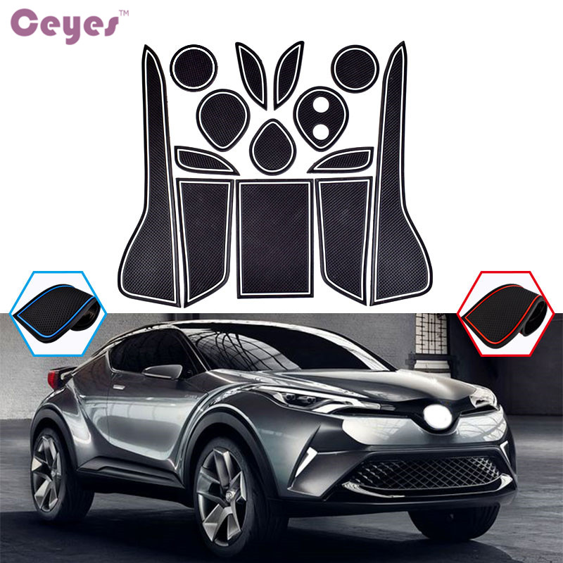 Ceyes Gate Slot Pad Non-Slip Cup Mats Car Styling Case For Toyota CHR 2017 C-HR Door Groove Mat Interior Car-Styling Accessories