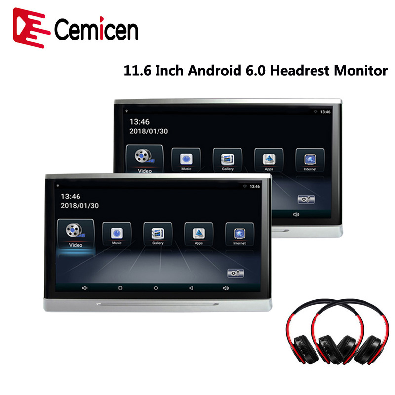 Cemicen 11.6 Inch Android 6.0 Car Monitor Headrest IPS Touch Screen HD 1080P Video WIFI/USB/SD/Bluetooth/FM Transmitter/Speaker-in Car Monitors from Automobiles & Motorcycles    1