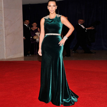 Hot Sale Sexy Mermaid Velvet Kim Kardashian Red Carpet Celebrity Women Dress Evening Plus size Robe de Soiree Custom Made