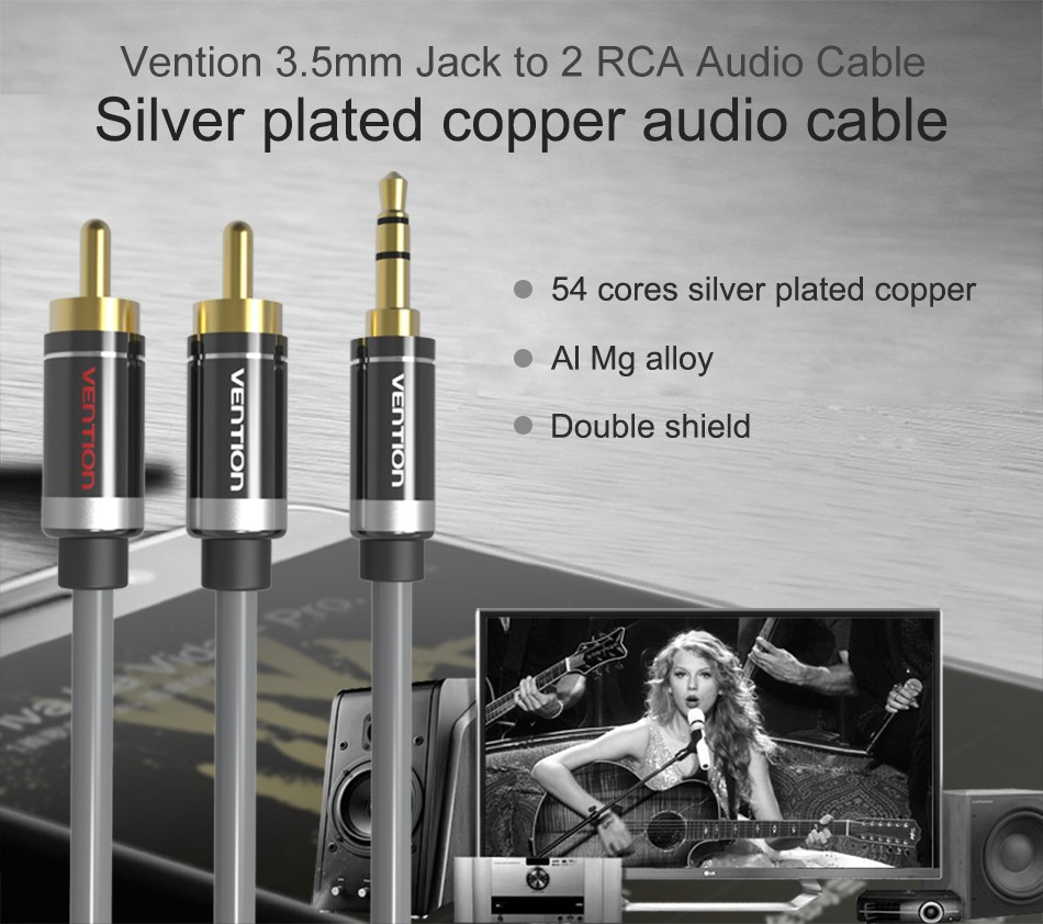 Vention RCA Audio Cable 3.5mm Jack to 2 RCA AUX Cable 2RCA Cable For Home Theater iPhone Headphone DVD 1m 2m 3m 5m 1