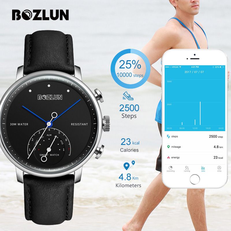 Bozlun Fashion Smart Watch Men Luxury Brand Women Auto-Time Call Message Reminder Quartz Wristwatches Pedometer Sport Watches H8 hot sale skmei brand men women fashion waterproof sports watches led display message call reminder fitness digital smart watch
