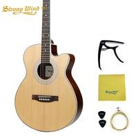 40 дюймов Акустическая гитара пихта тела Закрытая ручка бас 6 стальных струн Gitar Профессиональный Начинающий унисекс 22 лада из красного дере