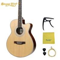 40 дюймов акустической гитары ели тело Закрытая ручка бас 6 Сталь строки Gitar Профессиональный Начинающий унисекс 22 Лады красное дерево Guitarra