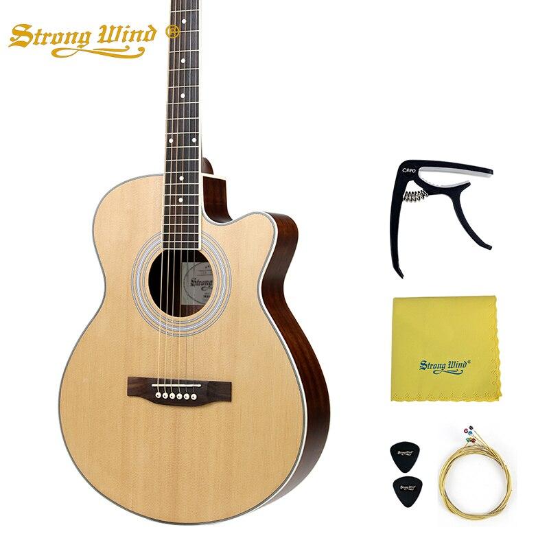 40 pouces Guitare Acoustique Sapin Corps Fermé Bouton Basse 6 Cordes En Acier Guitare Débutant Professionnel Unisexe 22 Frettes En Acajou Guitarra