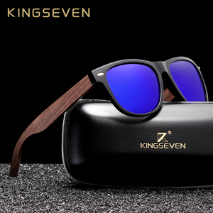 Image 1 - KINGSEVEN Handgemaakte Zwarte Walnoot Zonnebril Mens Houten Brillen Vrouwen Gepolariseerde Spiegel Vintage Vierkante Ontwerp Oculos de sol