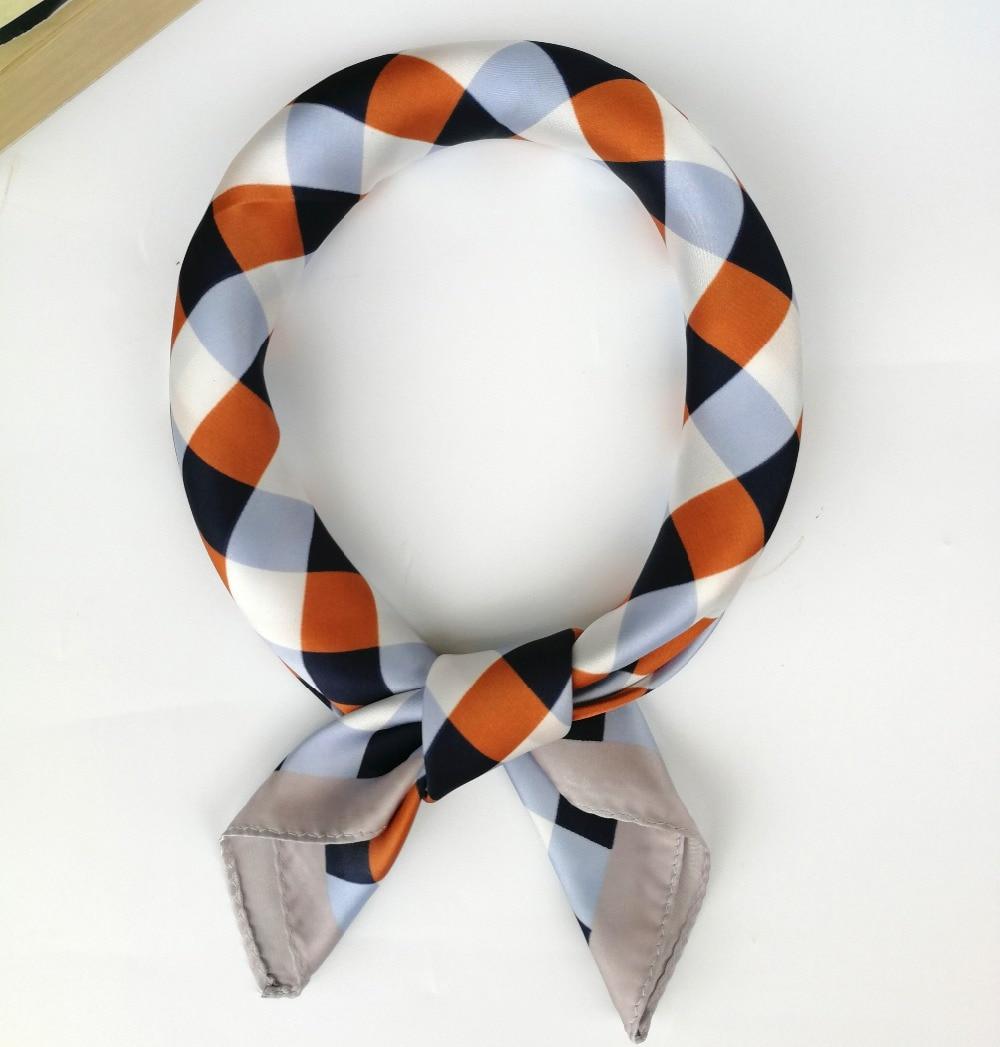 0d35ecb6f8f Plaid Scarf Satin Silk Bandana Women Men 55 55cm Small Square Neck Head  Scarf Headband