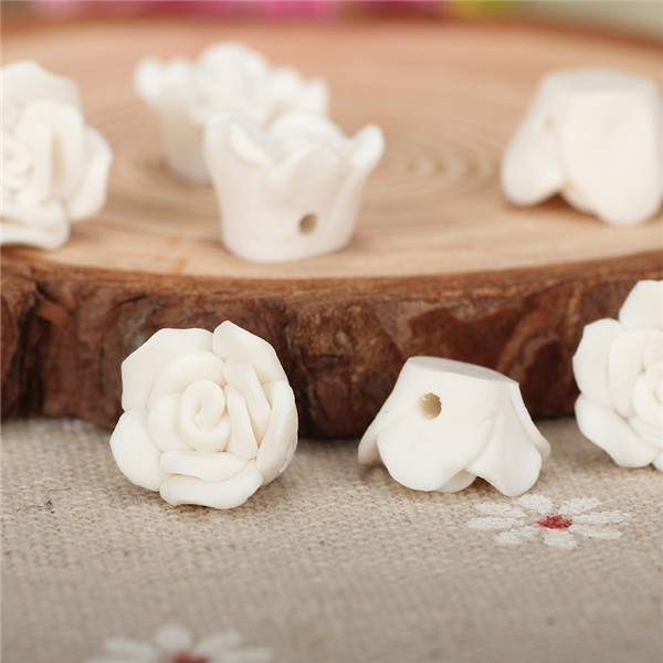 20pc/lot 12mm Mini Clay Fimo Resin Rose Flower Bead With Hole Diy Bracelet Hair Jewelry Creative Handicraft Material Accessories