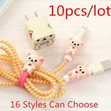 10Pcs Cartoon USB Cable Earphone Protector Set With Winder Stickers Spiral Cord For iphone 5 6 7 Free Shipping