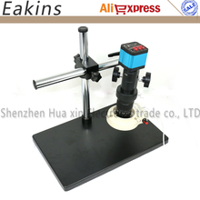 Sale 14MP 300X 180X 30FPS HDMI USB HD Indusry Lab Microscope Camera TF Video + C-Mount Lens + Dual Arm Stereo Table Stand + 56 Light
