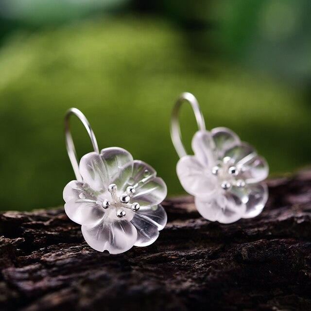Lotus Fun réel 925 en argent Sterling fait à la main de beaux bijoux fleur sous la pluie ensemble de bijoux avec anneau goutte boucle doreille pendentif collier