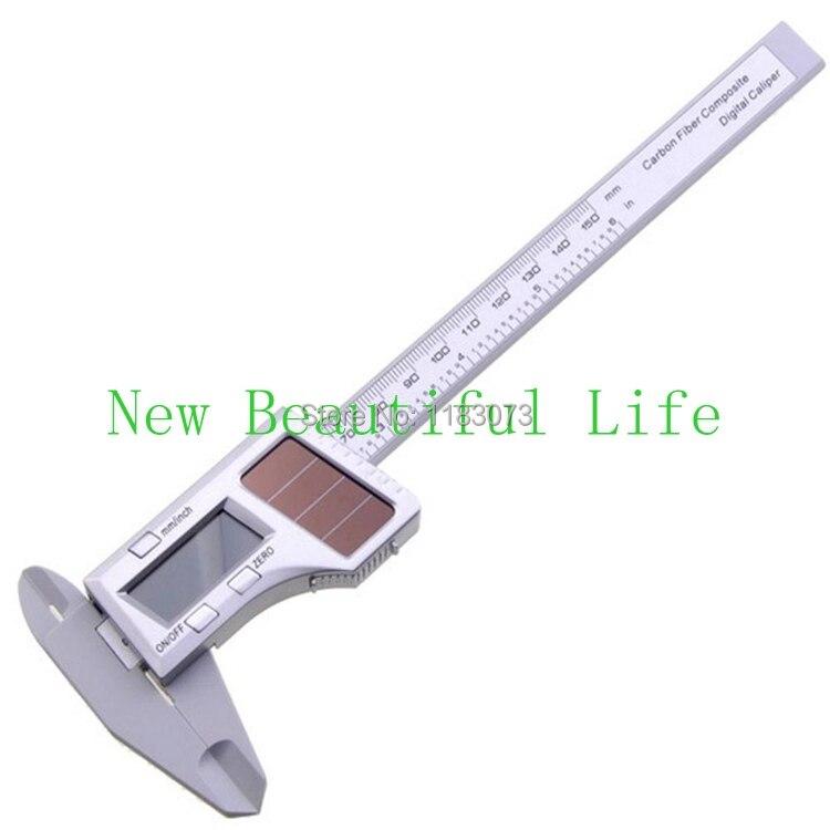 150mm 6 Pouces Solaire Puissance Numérique Vernier Étrier En Fiber De Carbone Composite Micromètre Jauge Mètre Widescreen Mesure Outils