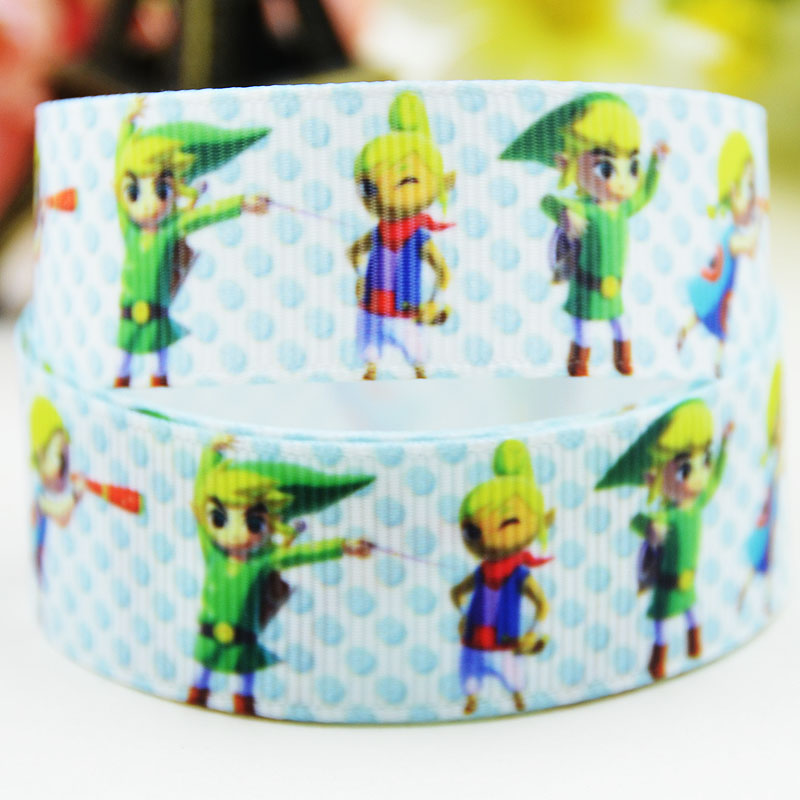 78'' (22mm) The Legend of Zelda   Character printed Grosgrain Ribbon party decoration satin ribbons X-02120  OEM 10 Yards