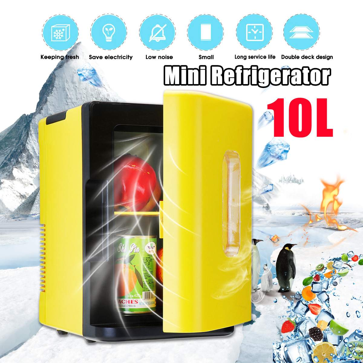 Electric Car Refrigerator 10L Dormitory Small Refrigerator Multi-Purpose Mini Refrigerator Car Home Dual-Use 220V