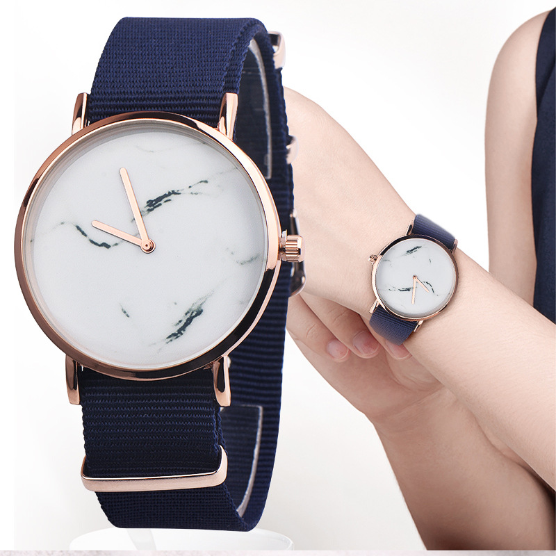 Simple Style Marble Watches Hot New Fashion Marbling Stripe Creative Quartz Watch Men Women Wristwatches Nylon Strap Clock
