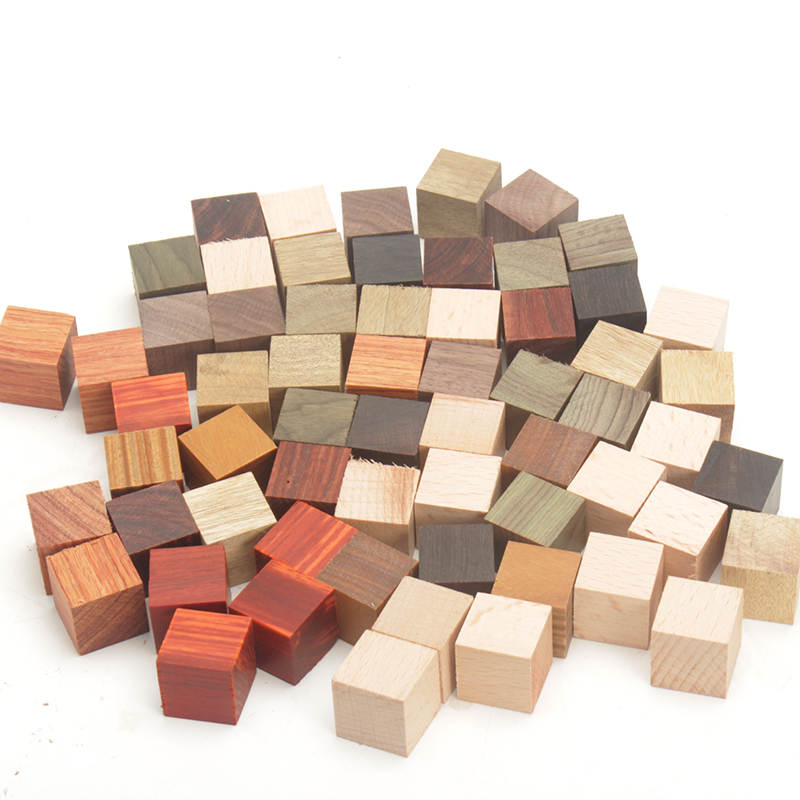 50pcs lot wooden blocks DIY wood 2cm cubes square solid craft  blanks