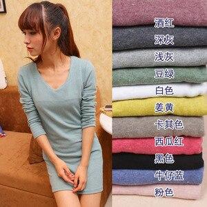 75 см, v-образный вырез, сплошной цвет, облегающая, универсальная, матовая блузка, многолетний сток, Женская Базовая теплая футболка с длинным ...
