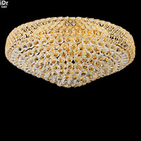 Continental Restaurant Lights LED Crystal Lamp Golden Circular Master Bedroom Lamp Living Room Lobby Ceiling Lights