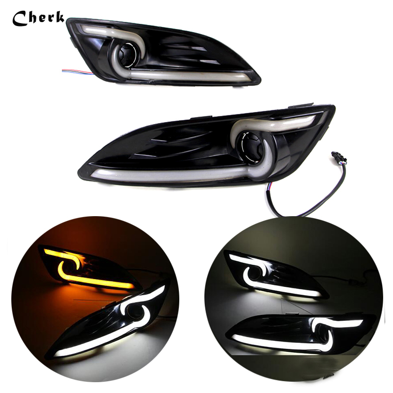 2pcs LED DRL For Ford Fiesta 2013 2014 Daytime Running Light With Yellow Turning Signal Waterproof Fog Lamp With Fog Lamp Hole white yellow daytime running lamp drl for ford fiesta 2013 2014 2015 2016 auto replacement lights