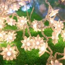 10M 100pcs Lotus Flowers Led String Garland light  Fairy Christmas Light For Wedding Holiday Party Kitchen Garden Decor