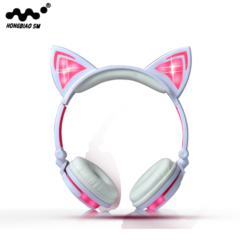 Wired Cat Ear headphones LED Ear headphone cat earphone Flashing Glowing Headset Gaming Earphones for Children For PC Laptop lobkin cat earphones children s headphones flashing glowing cosplay fancy over ear gaming headset with led light for girls kids