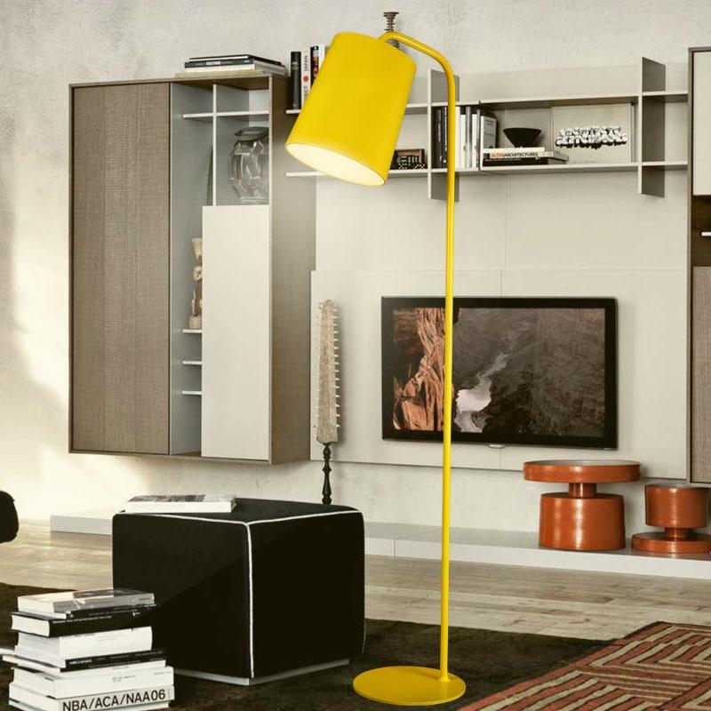 Moderne Einfache Stehleuchte Gelb Schwarz Weiß Farbe Lampenschirm