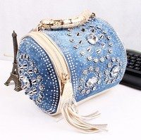 Multi function designer rhinestone bags luxury women handbags delicate diamond women messenger bag travel bags tassel