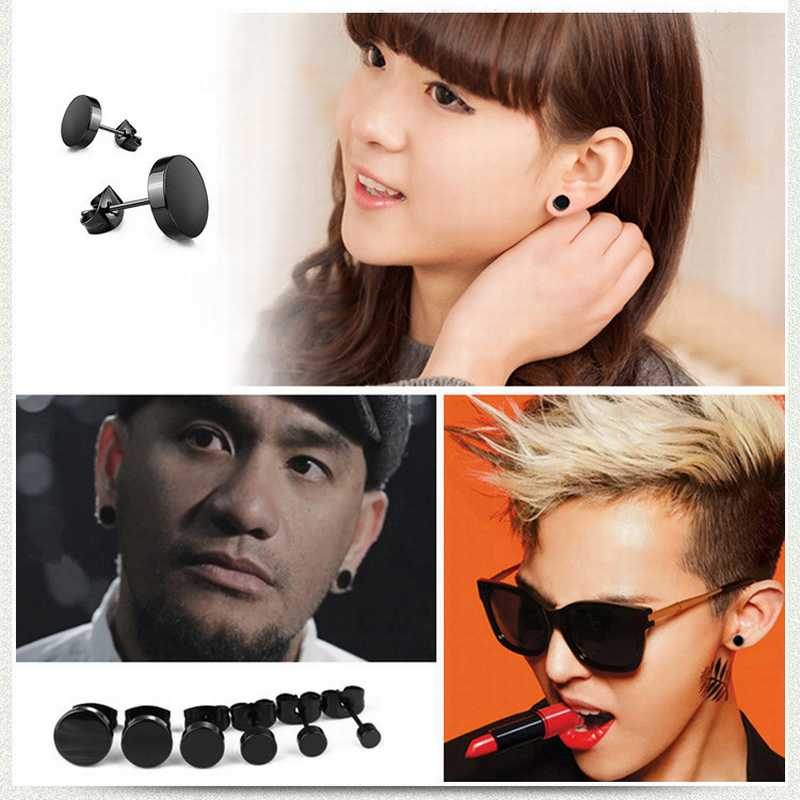 Cheap-1pc-Wild-Fashion-Hot-Round-Black-Titanium-Stud-Earrings-Dumbbell-Stainless-Steel-Earrings-Korean-Women (4)