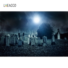 Laeacco Halloween Moon Dark Cemetery Tombstone Forest Photography Backgrounds Customized Photographic Backdrops For Photo Studio