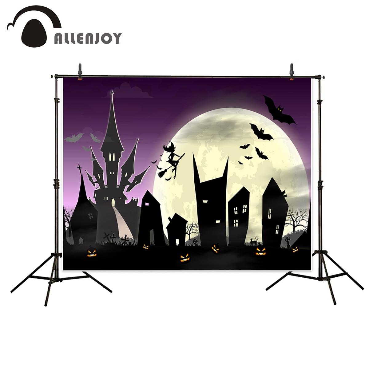 Allenjoy photo background Halloween Castle backdrop night witch crows pumpkin moon cartoon Photostudio the cloth
