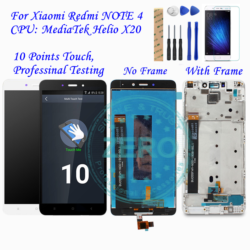 US $20 83 10% OFF|For Xiaomi Redmi Note 4 MediaTek LCD Display Frame  Complete Touch Screen Panel Redmi note4 Note 4 MTK LCD Digitizer Spare  Parts-in