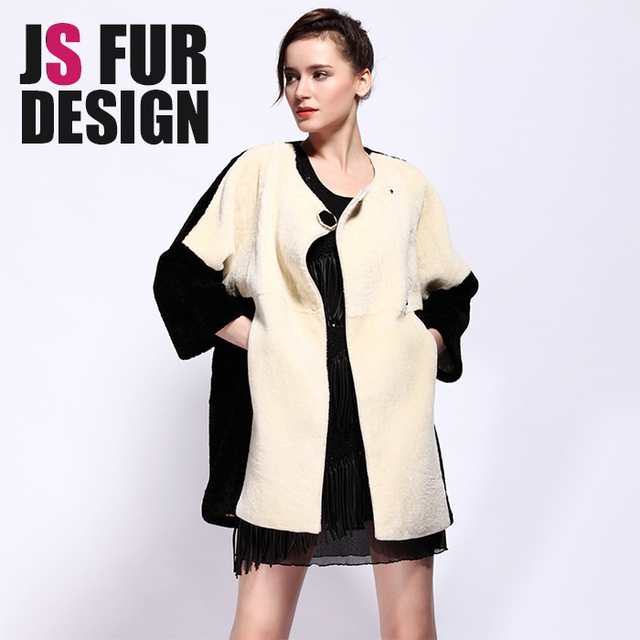 New Arrival Women Genuine Shearling Fur coats Chic Ladies Winter Warm O-neck 3/4 Sleeve Side Pockets Black Wool Fur Hand Made