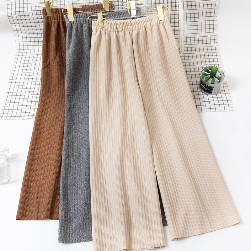 2018 Autumn Winter Women Long   Pants   Elastic High Waist Knitted   Pants   Loose Casual Trousers Female   Wide     Leg     Pants   Plus Size A1188