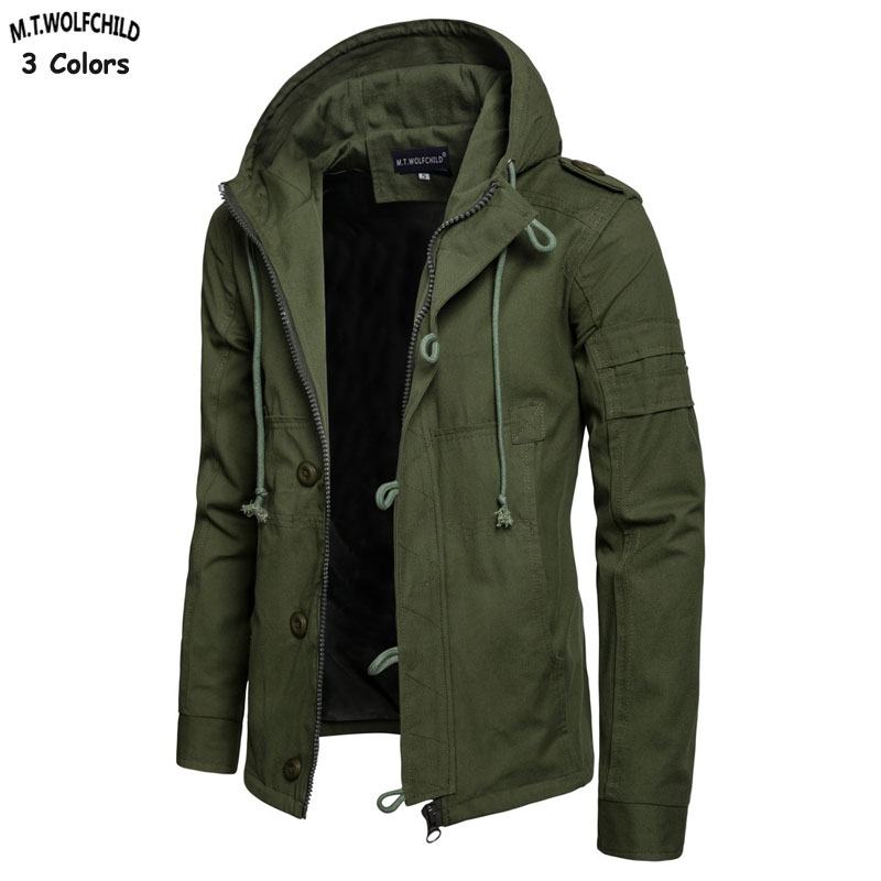 High Quality Spring Autumn Military Thick Mens Hooded Jackets Cotton Casual Mens Zipper Windbreaker Coats Mens Loose Clothing