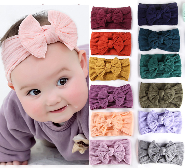 Popular Wide Nylon Headband,Soft Nylon Hair Bands,Knotted Hair Bow Headband,Children Girls Headwear Hair Accessories 30PC/lot