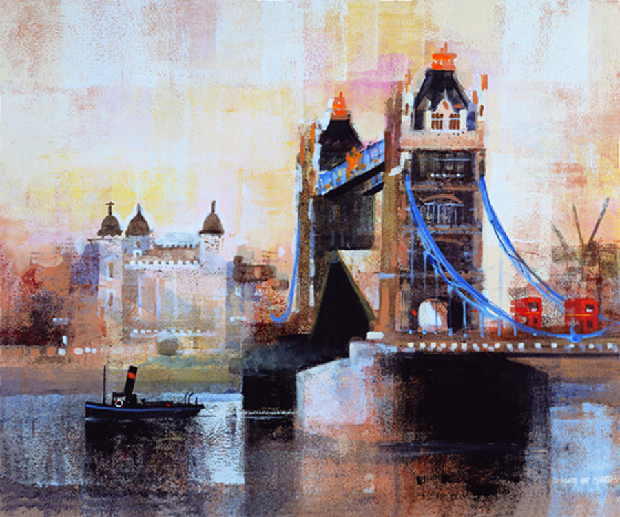 Good Quality Abstract Landscape London Tower Bridge Oil Painting On Canvas Handmade Abstract Landscape Oil Painting FOR SALE