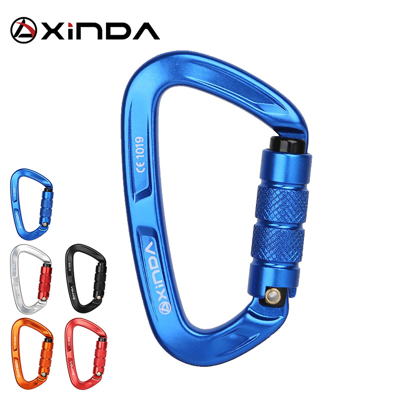 XINDA Rock Climbing Carabiner 25KN Safety D-Shape Buckle Auto Lock Spring-loaded Gate Aluminum Carabiner Outdoor Kits