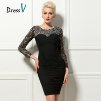 Dressv Luxury Black Cocktail Dresses 2017 Sheer Long Beaded Sleeves Short Party Formal Occasion Dresses Clubdress Cocktail Dress