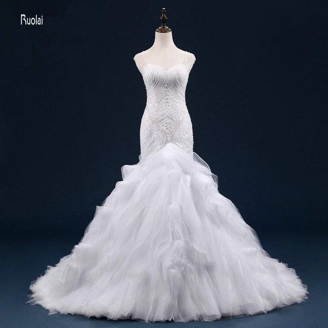 b55575d8adaa 2017 Real Photo Sexy Mermaid Wedding Dress Sweetheart Beading Ruffles Sweep  Train Wedding Gown Sheer Back Fish vestido de noiva
