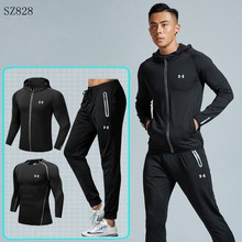 Under Armour Pria Training Cocok Ropa Deportiva Hombre Berjalan Gym Set Cepat Kering Outdoor Olahraga Perapi 3 Buah M-4XL(China)