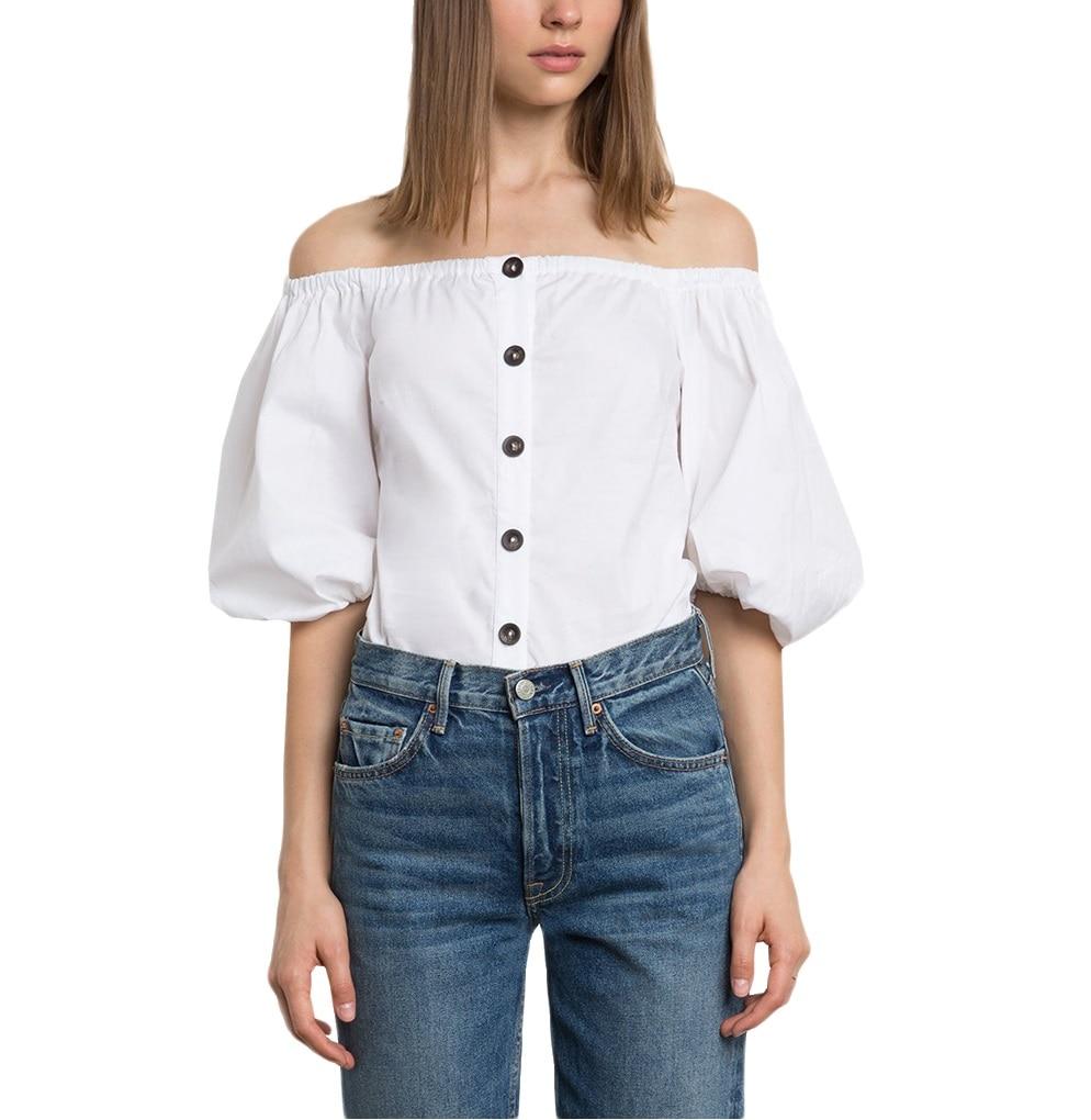 Off Shoulder Tops Women Summer 2018 Fashion Slash Neck Blouse White Lantern Sleeve Loose Button Blouses Womens Clothing 0627-34